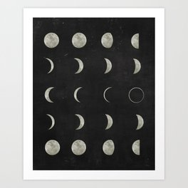 Moon Phases on Black Sky Art Print