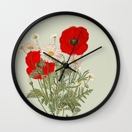 A country garden flower bouquet -poppies and daisies Wall Clock