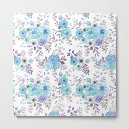 Lilac teal blue hand painted watercolor floral Metal Print