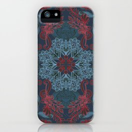 Vintage Fancy - a Pattern in Deep Teal & Red iPhone Case