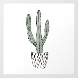 Potted cactus Art Print