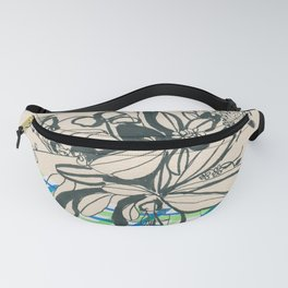 Flowers at the framhouse cafe -line drawing leaves #6 Fanny Pack