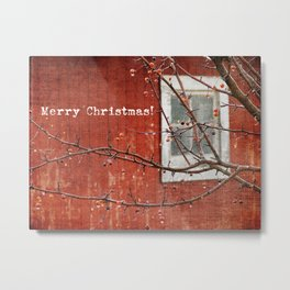 Berries and Barn, Christmas Metal Print