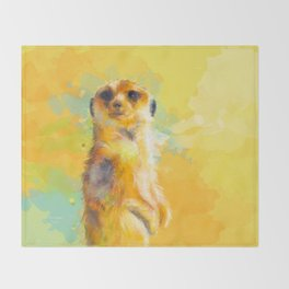 Dear Little Meerkat Throw Blanket
