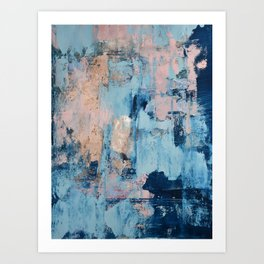 Sunbeam: a pretty abstract painting in pink, blue, and gold by Alyssa Hamilton Art Art Print