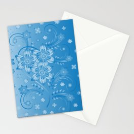 Abstract blue flowers with background Stationery Cards