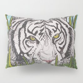White tiger in wild grass Pillow Sham