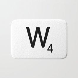 Letter W - Custom Scrabble Letter Tile Art - Scrabble W Initial Bath Mat