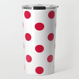 Polka Dots - Crimson Red on White Travel Mug