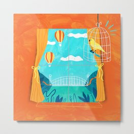 The sight of bridges and balloons makes calm canaries irritable  Metal Print
