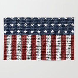 USA American Flag Rustic Jute Style 4th July Decor Rug