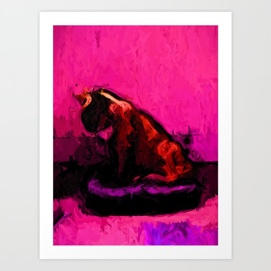 Cat and a Pink Wall Art Print