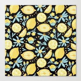 Lemon Pattern Black Canvas Print