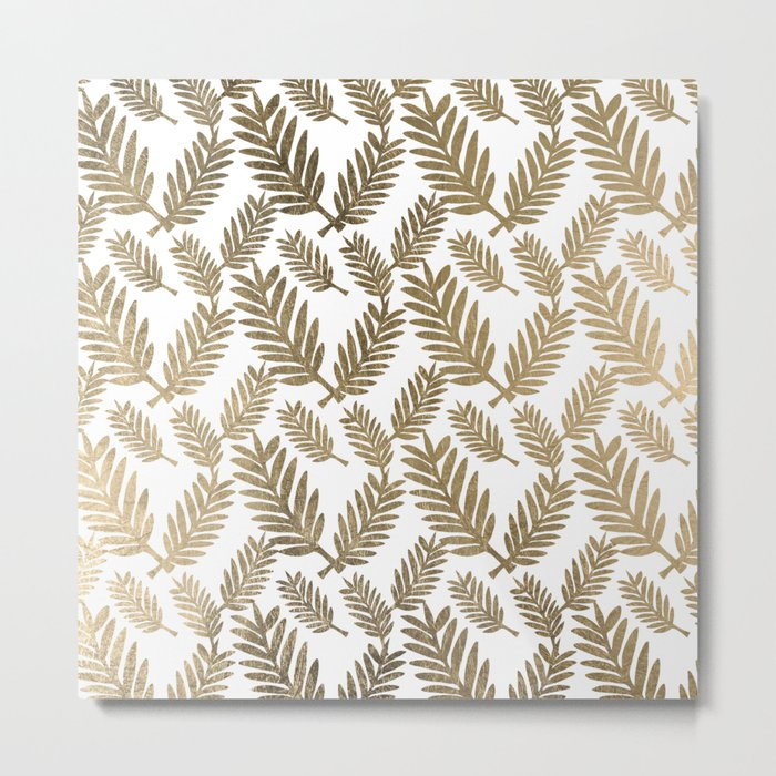 Elegant faux gold foil tropical leaves floral pattern Metal Print