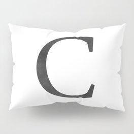 Letter C Initial Monogram Black and White Pillow Sham