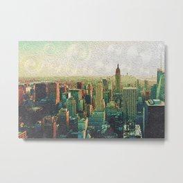 New York City Skyline Vang Gogh Style Oil Painting Metal Print