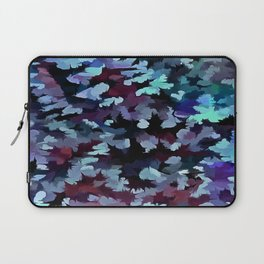 Foliage Abstract Camouflage In Aqua Blue and Black Laptop Sleeve