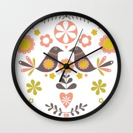 Scandinavian Folk Bird Print  Wall Clock