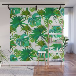 Abstract hand painted forest green watercolor tropical leaves Wall Mural