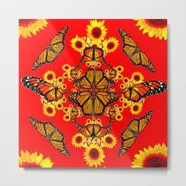 RED SUNFLOWERS & MONARCH BUTTERFLIES ABSTRACT Metal Print
