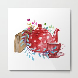 Tea and Flowers Metal Print