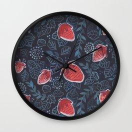 Winter Hymnal Strawberries Wall Clock