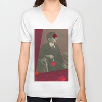 lynch V-neck T-shirts featuring David Lynch by Naomi Vona