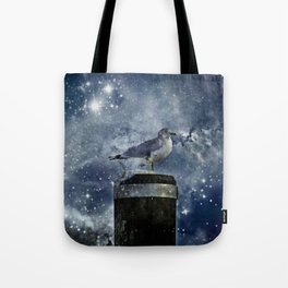 One Legged Seagull in a Snowstorm with Stars in His Eyes Tote Bag