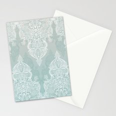 Lace & Shadows - soft sage grey & white Moroccan doodle Stationery Cards