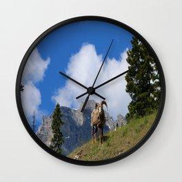 Ram Against Mountain Backdrop Wall Clock
