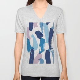 Blue and pink brushstrokes pattern Unisex V-Neck