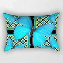 Ornate Black & Blue Azure Nouveau Butterfly Designs Rectangular Pillow