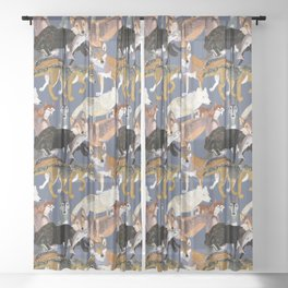 Wolves pattern in dark blue Sheer Curtain