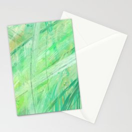 Positive vibes only, abstract green Stationery Cards