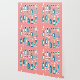 Cocktails And Drinks In Aquas and Pinks Wallpaper
