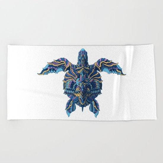 Sea Turtle (Color Version) Beach Towel