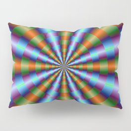 Orange Green Blue and Violet Pleats Pillow Sham