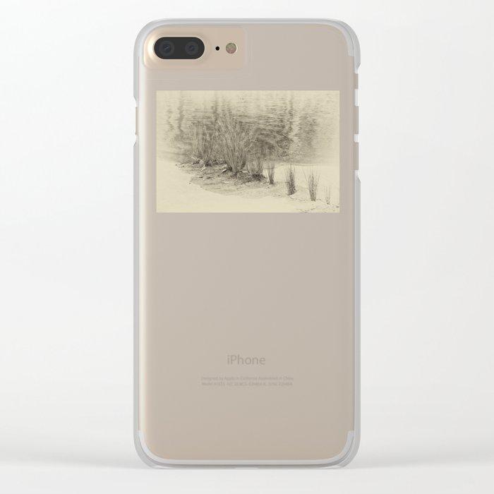 Beautiful river grasses in sepia Clear iPhone Case