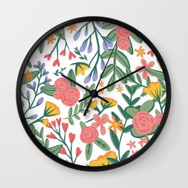 Floral Pattern Pink Purple and Yellow Wall Clock