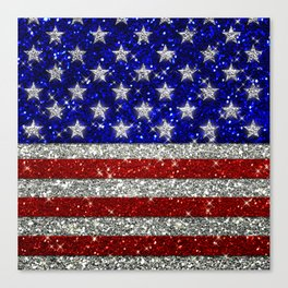 Glitter Sparkle American Flag Pattern Canvas Print