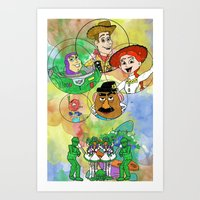 pixar Art Prints featuring Disney Pixar Play Parade - Toy Story Unit by Joey Noble