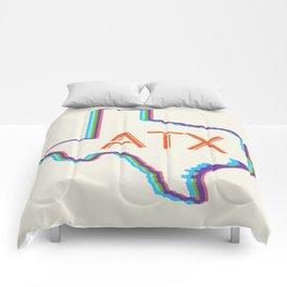 ATX Austin, Texas Retro Neon Lights Comforters