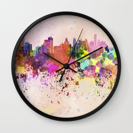 Philadelphia skyline in watercolor background Wall Clock