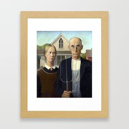 Iconic American Gothic by Grant Wood Framed Art Print