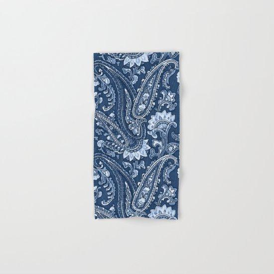 Blue indigo paisley Hand & Bath Towel
