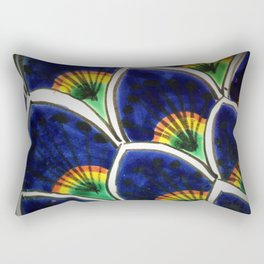 HAND PAINTED PEACOCK FEATHERS Rectangular Pillow