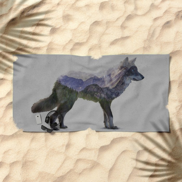 The Rocky Mountain Gray Wolf Beach Towel
