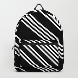 Back and White Lines Minimal Pattern No.3 Backpack