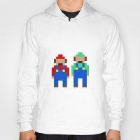 luigi Hoodies featuring Mario and Luigi by Pixel Icons