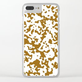 Spots - White and Golden Brown Clear iPhone Case